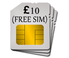SIM w/ £10 top-up